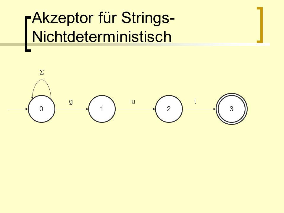 Akzeptor für Strings- Nichtdeterministisch