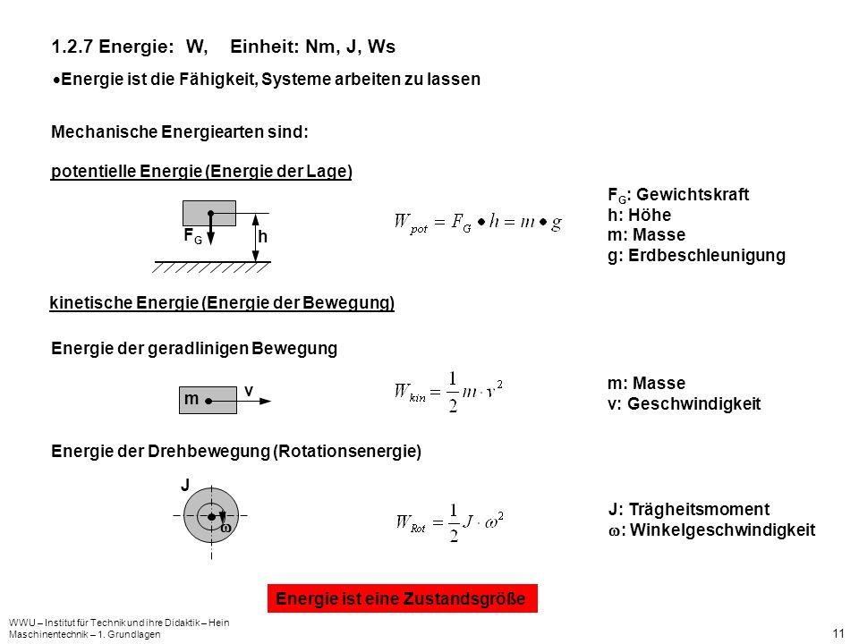 1.2.7 Energie: W, Einheit: Nm, J, Ws
