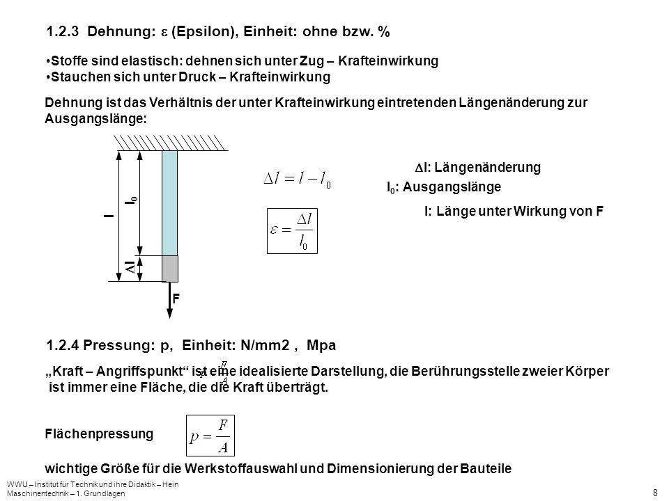 1.2.3 Dehnung:  (Epsilon), Einheit: ohne bzw. %