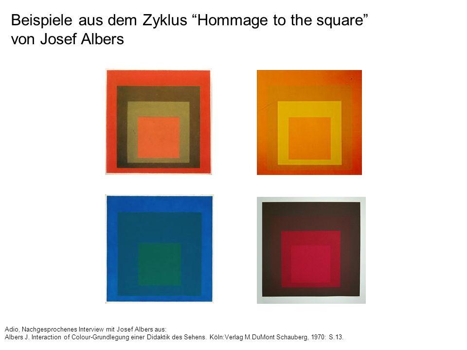 Beispiele aus dem Zyklus Hommage to the square von Josef Albers