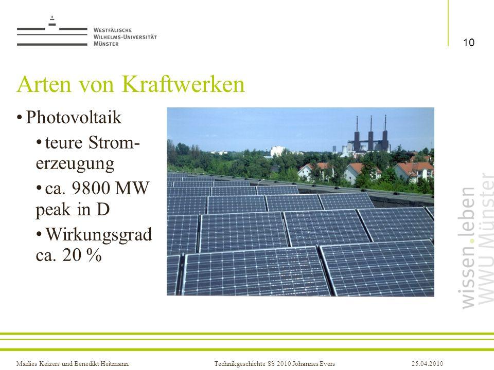 Arten von Kraftwerken Photovoltaik teure Strom- erzeugung