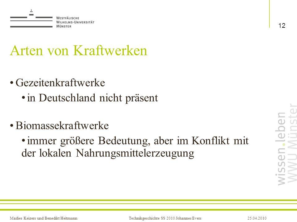 Arten von Kraftwerken Gezeitenkraftwerke in Deutschland nicht präsent