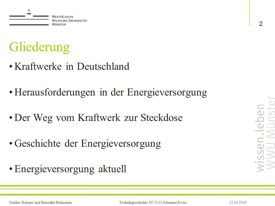 Gliederung Kraftwerke in Deutschland