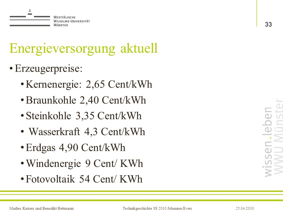 Energieversorgung aktuell