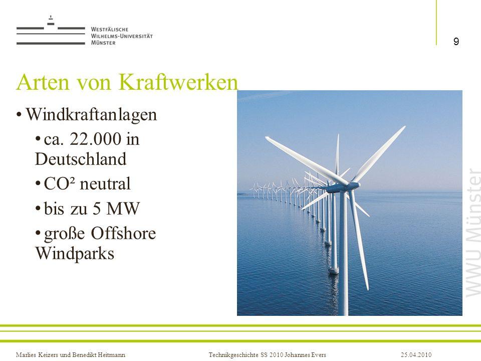 Arten von Kraftwerken Windkraftanlagen ca. 22.000 in Deutschland