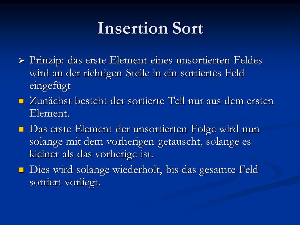 Insertion Sort Prinzip: das erste Element eines unsortierten Feldes wird an der richtigen Stelle in ein sortiertes Feld eingefügt.