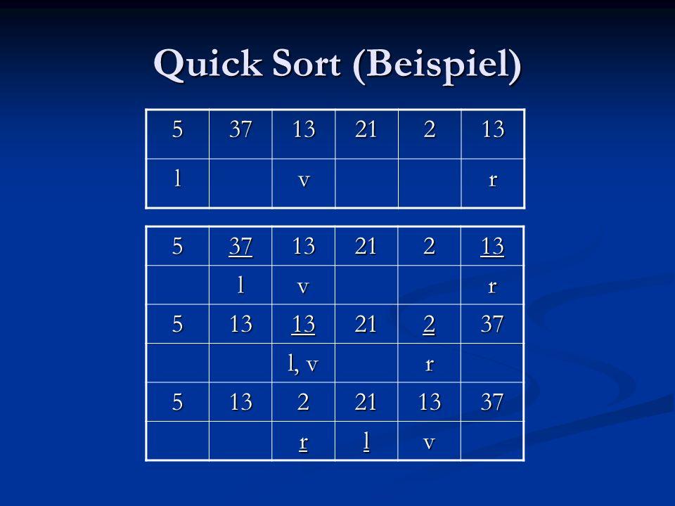 Quick Sort (Beispiel) 5 37 13 21 2 l v r 5 37 13 21 2 l v r l, v