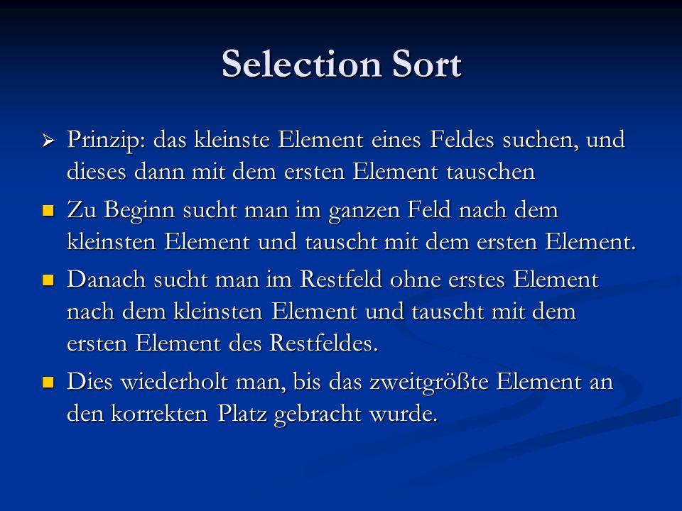Selection Sort Prinzip: das kleinste Element eines Feldes suchen, und dieses dann mit dem ersten Element tauschen.