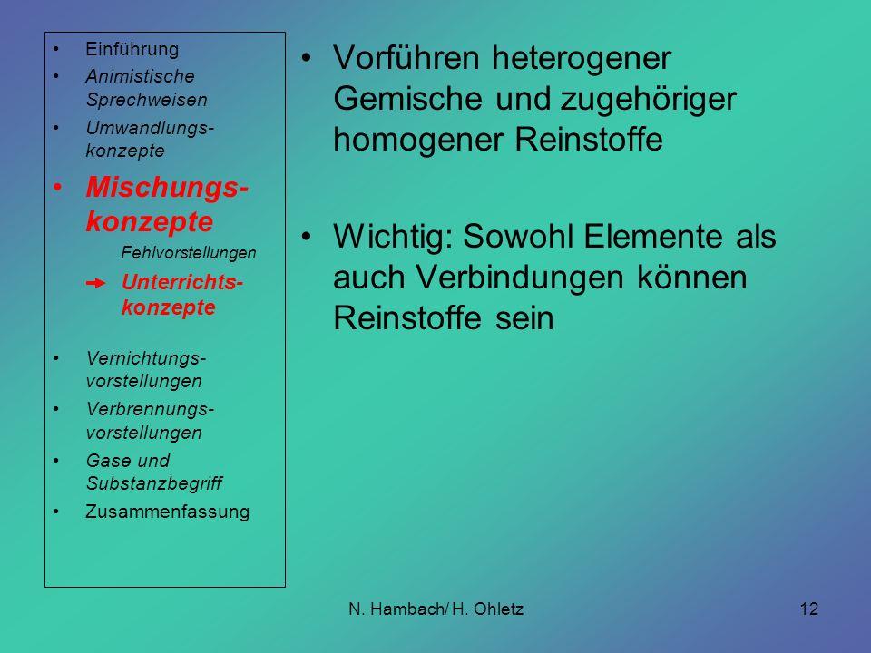 Vorführen heterogener Gemische und zugehöriger homogener Reinstoffe