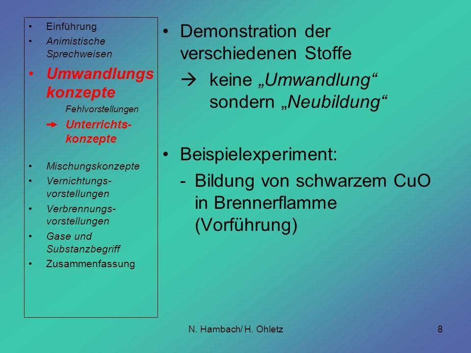 Demonstration der verschiedenen Stoffe