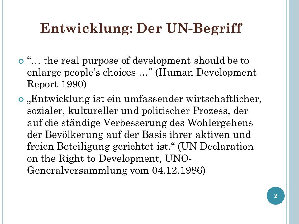 Entwicklung: Der UN-Begriff