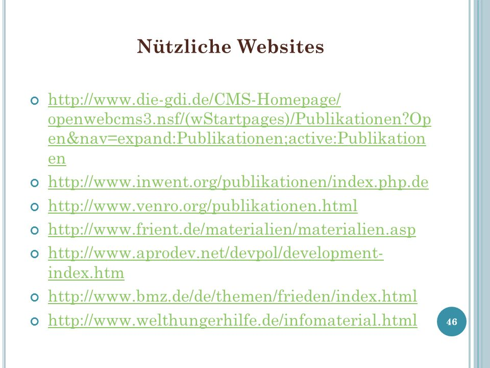 Nützliche Websites