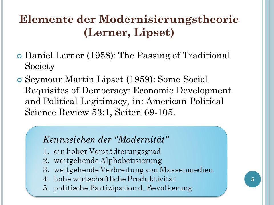 Elemente der Modernisierungstheorie (Lerner, Lipset)