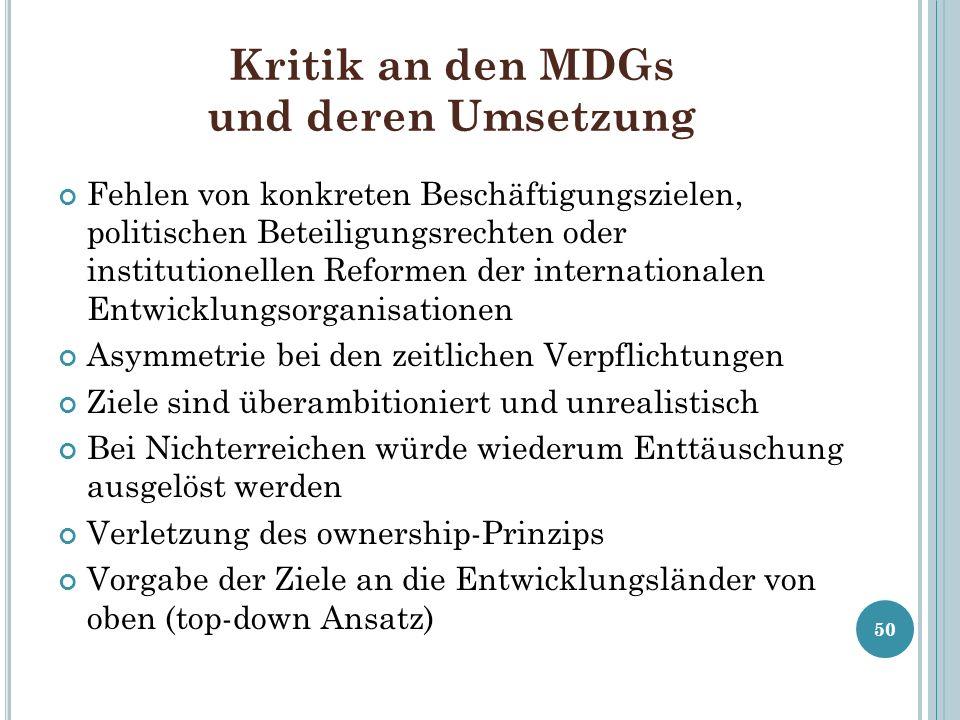 Kritik an den MDGs und deren Umsetzung