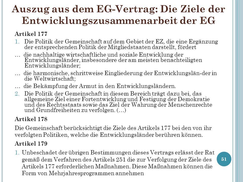 Auszug aus dem EG-Vertrag: Die Ziele der Entwicklungszusammenarbeit der EG