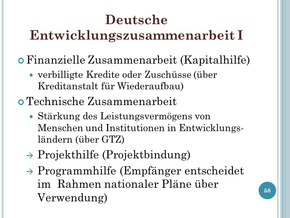 Deutsche Entwicklungszusammenarbeit I