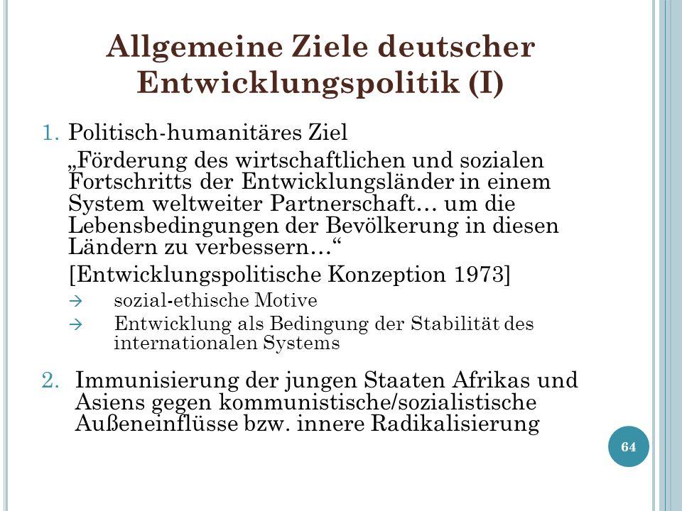 Allgemeine Ziele deutscher Entwicklungspolitik (I)