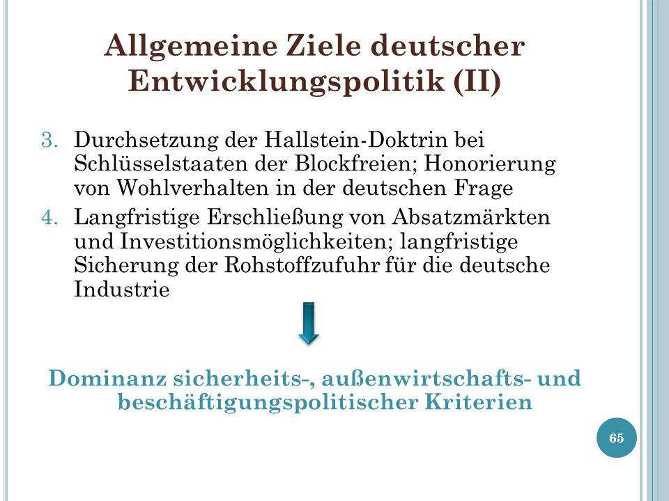 Allgemeine Ziele deutscher Entwicklungspolitik (II)