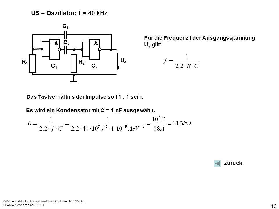 US – Oszillator: f = 40 kHz & C1 C2 R1 R2 G1 G2 ua