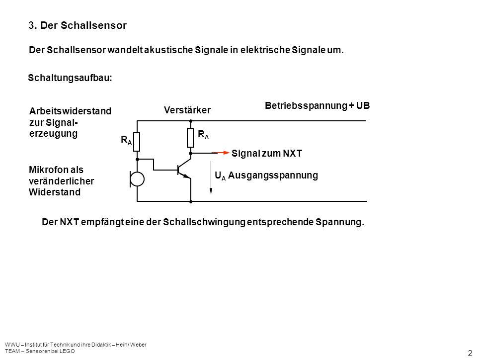 3. Der Schallsensor Der Schallsensor wandelt akustische Signale in elektrische Signale um. Schaltungsaufbau: