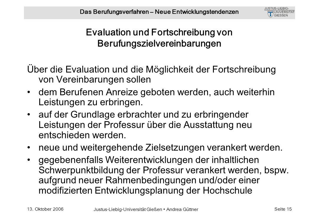 Evaluation und Fortschreibung von Berufungszielvereinbarungen