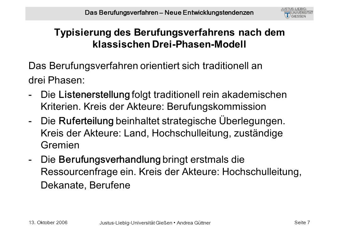 Typisierung des Berufungsverfahrens nach dem klassischen Drei-Phasen-Modell