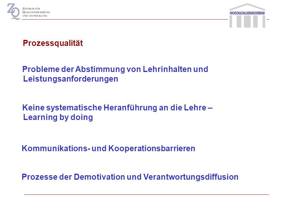 Prozessqualität Probleme der Abstimmung von Lehrinhalten und Leistungsanforderungen.