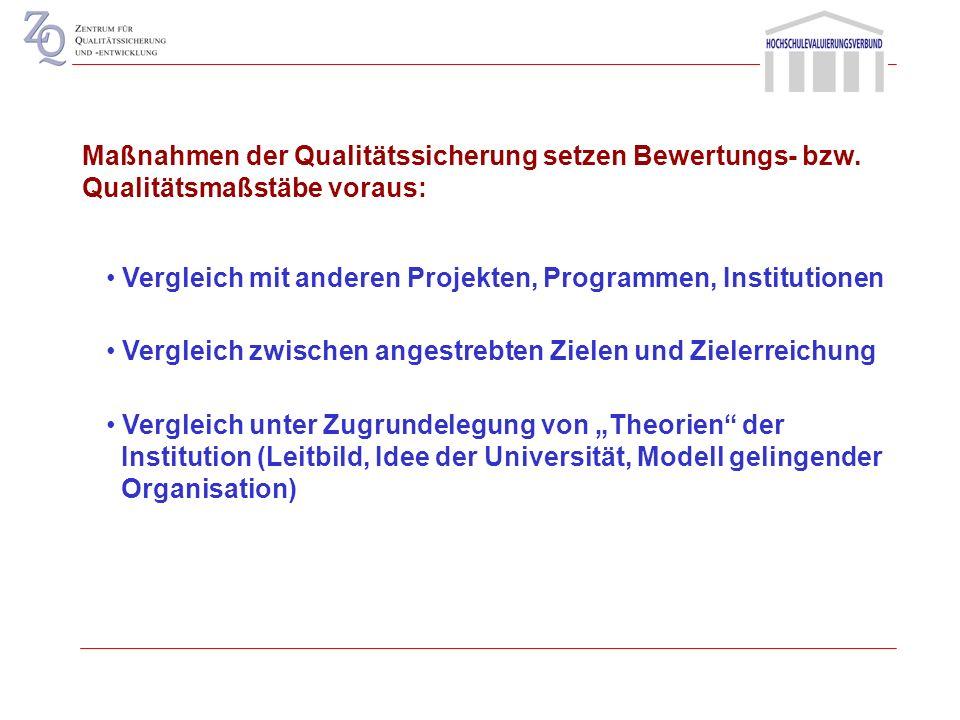 Maßnahmen der Qualitätssicherung setzen Bewertungs- bzw