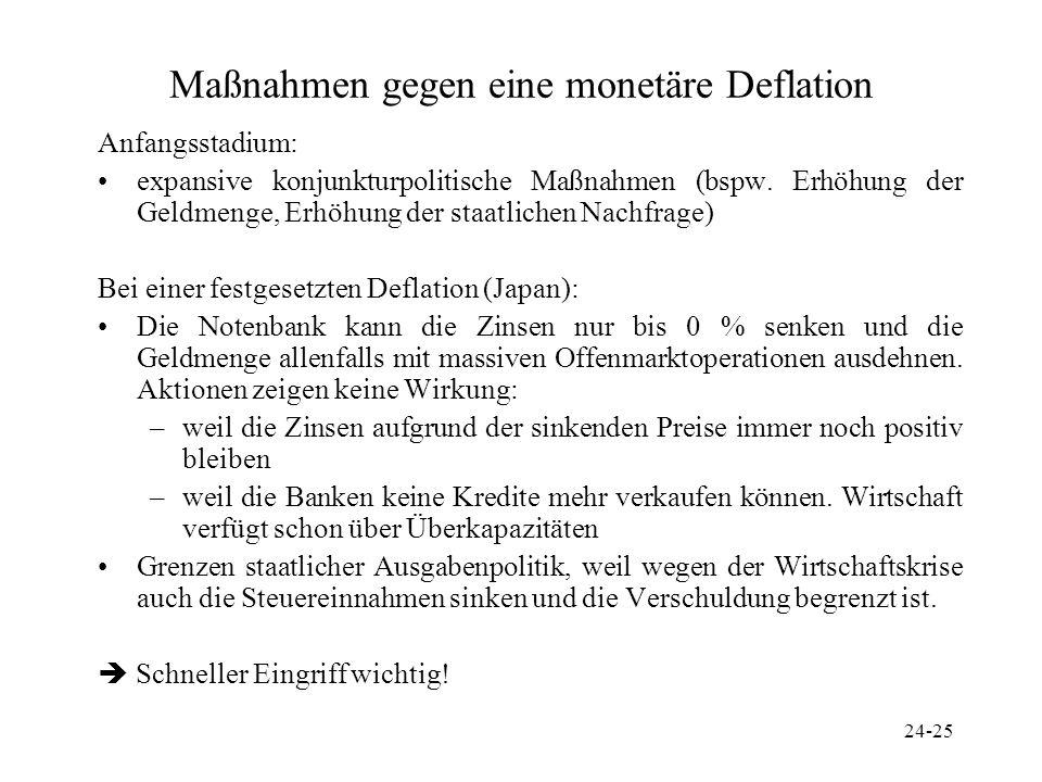 Maßnahmen gegen eine monetäre Deflation