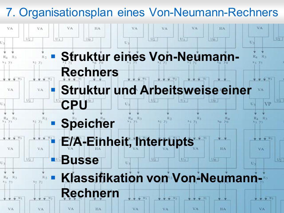 7. Organisationsplan eines Von-Neumann-Rechners