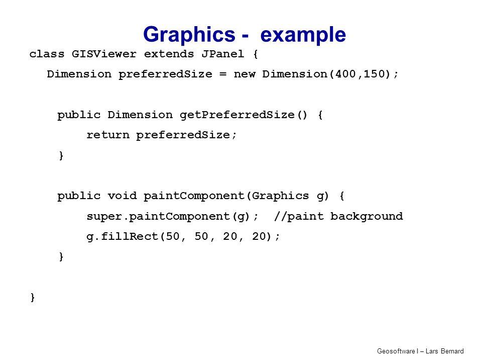 Graphics - example class GISViewer extends JPanel {