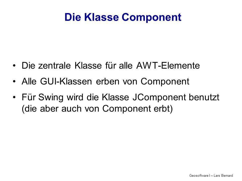 Die Klasse Component Die zentrale Klasse für alle AWT-Elemente