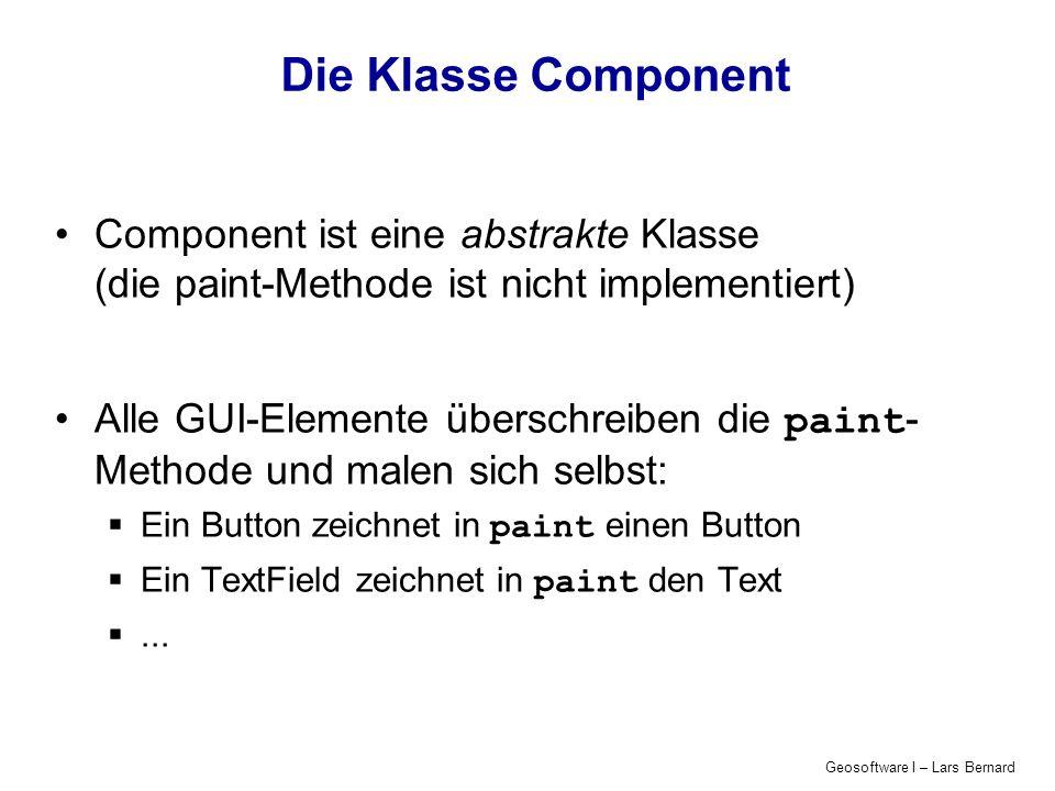 Die Klasse Component Component ist eine abstrakte Klasse (die paint-Methode ist nicht implementiert)