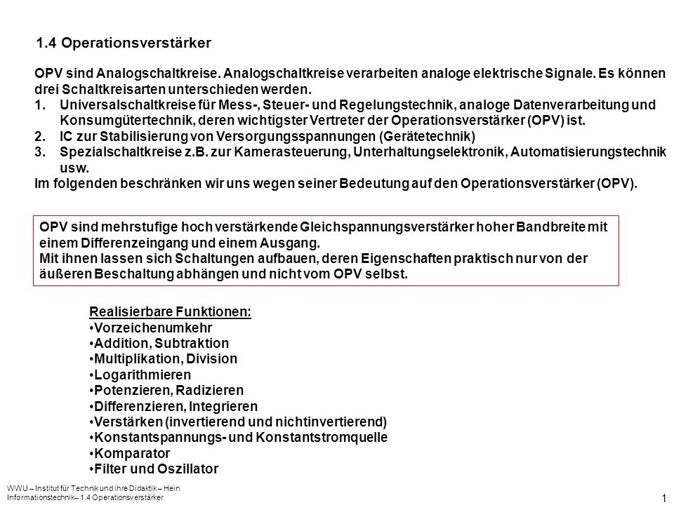 1.4 Operationsverstärker