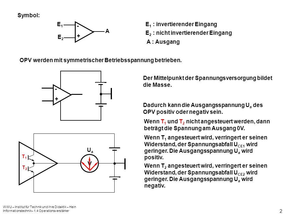 V Symbol: - + E1 E2 A E1 : invertierender Eingang