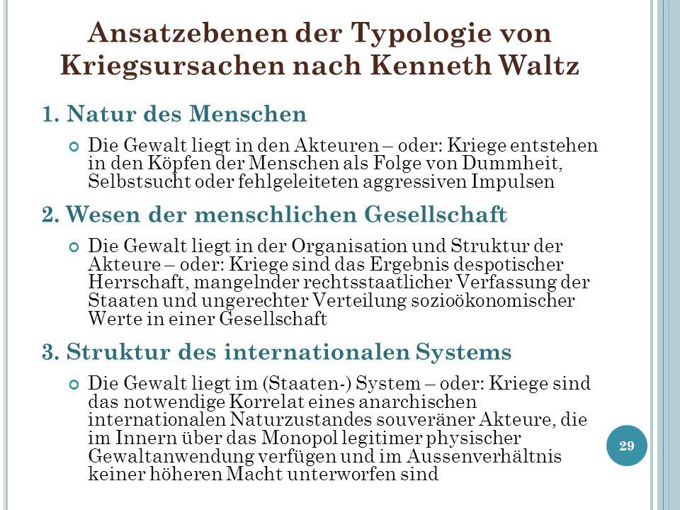 Ansatzebenen der Typologie von Kriegsursachen nach Kenneth Waltz