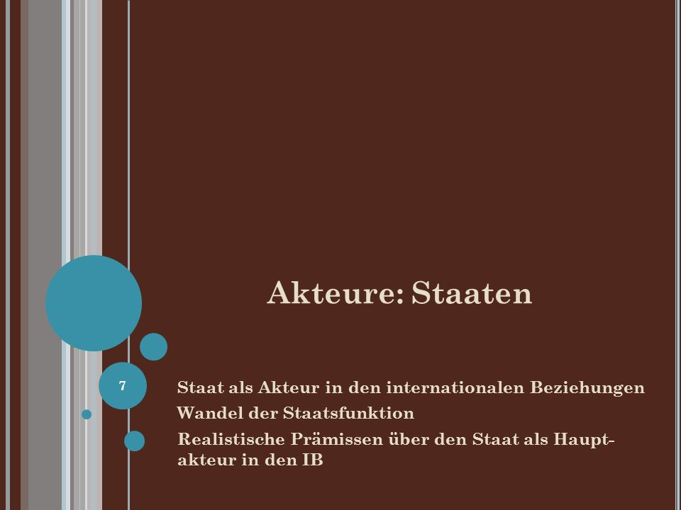 Akteure: Staaten Staat als Akteur in den internationalen Beziehungen
