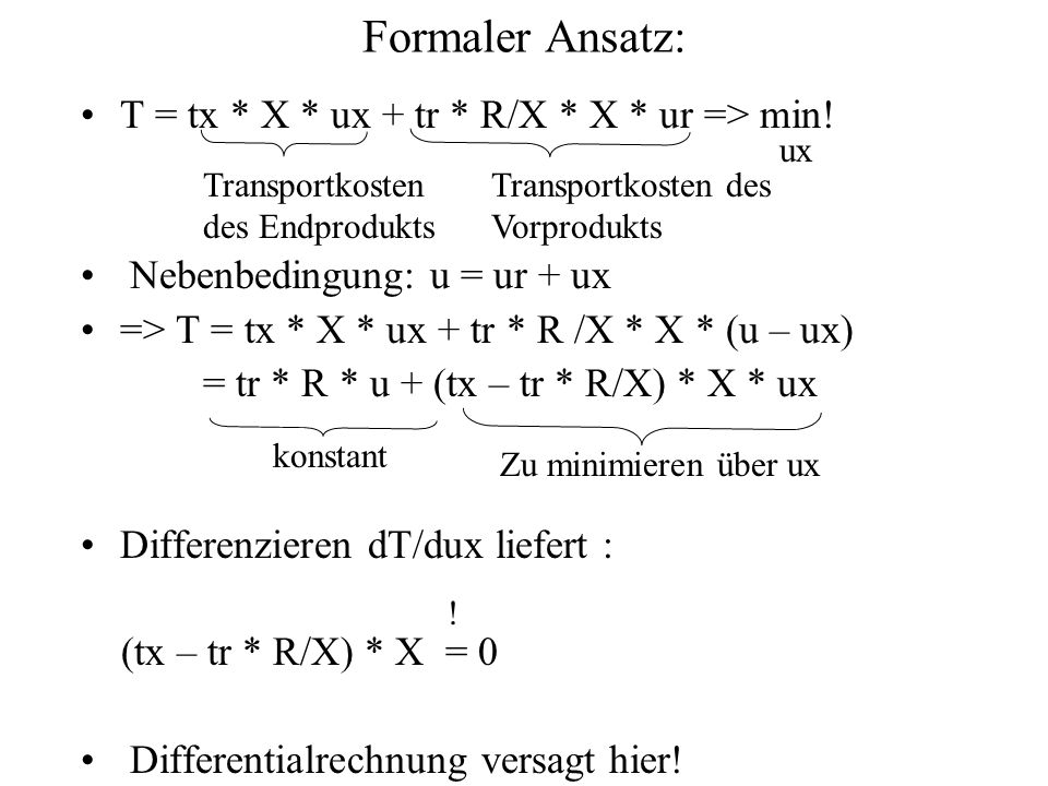 Formaler Ansatz: T = tx * X * ux + tr * R/X * X * ur => min!