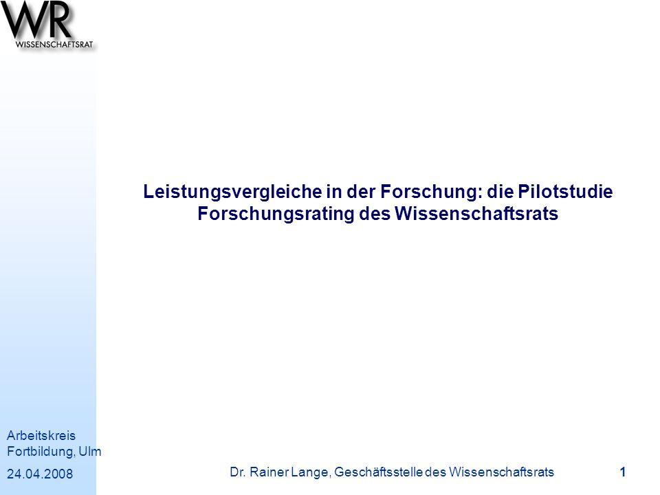 Dr. Rainer Lange, Geschäftsstelle des Wissenschaftsrats
