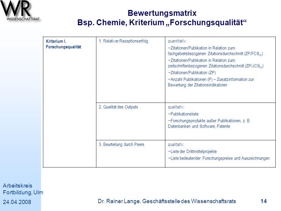 """Bewertungsmatrix Bsp. Chemie, Kriterium """"Forschungsqualität"""