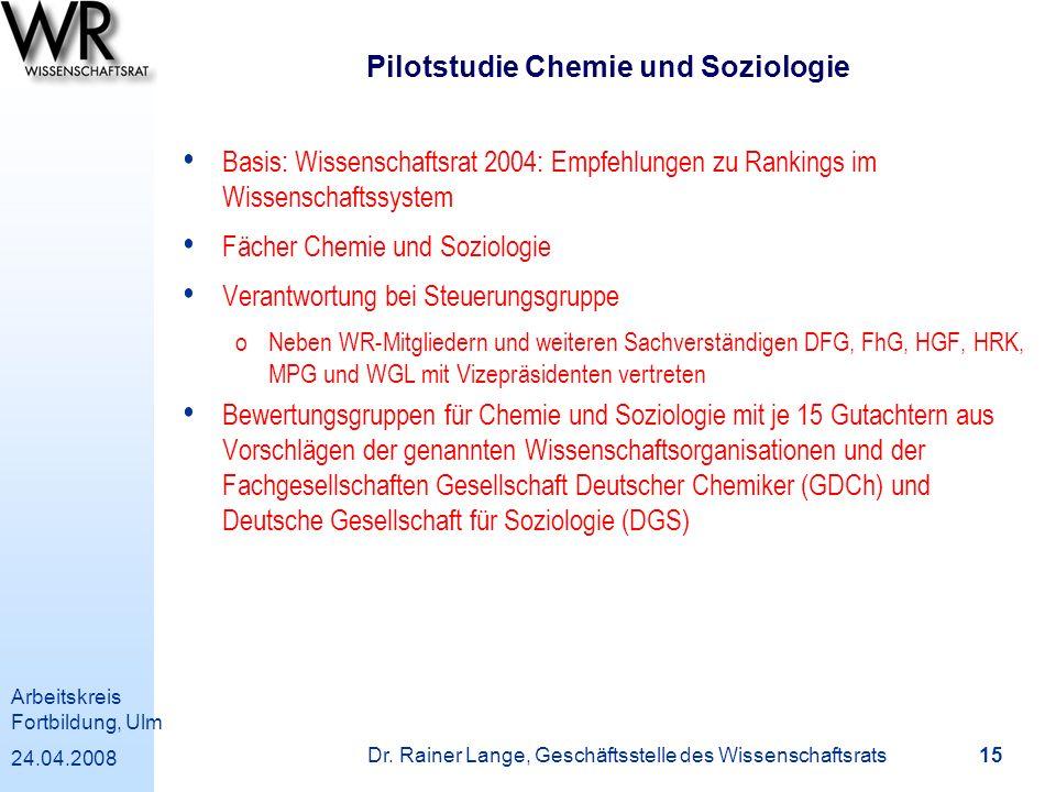 Pilotstudie Chemie und Soziologie