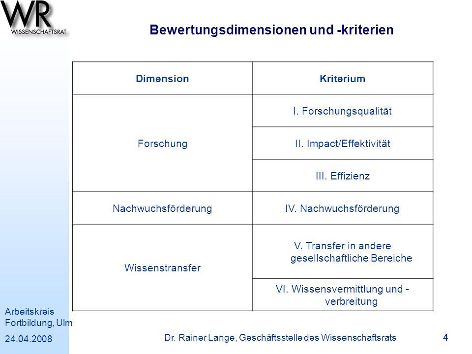 Bewertungsdimensionen und -kriterien