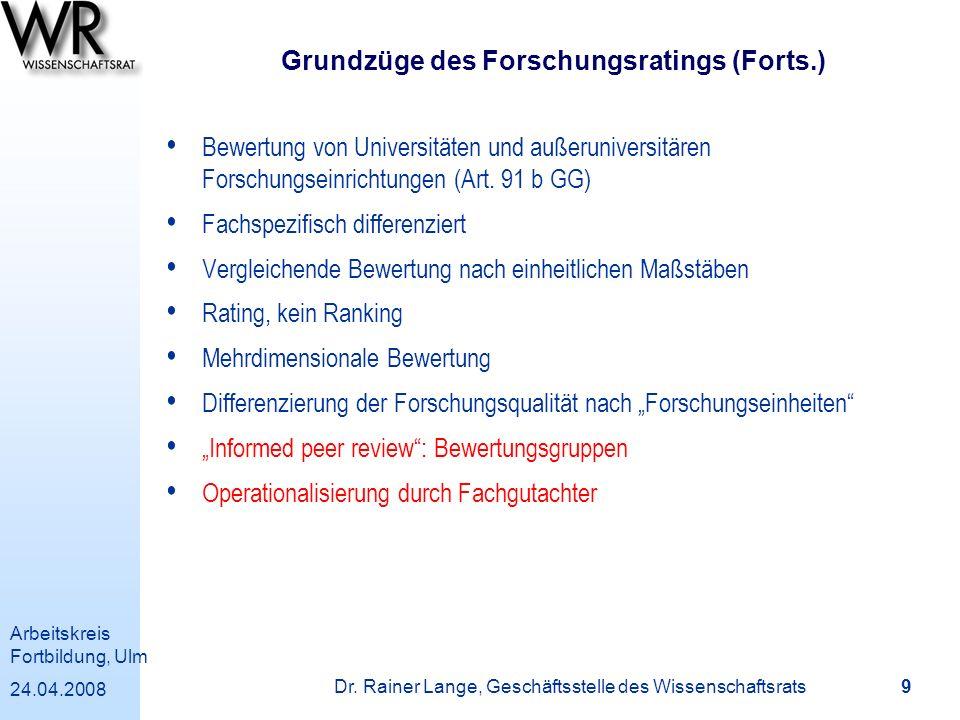 Grundzüge des Forschungsratings (Forts.)
