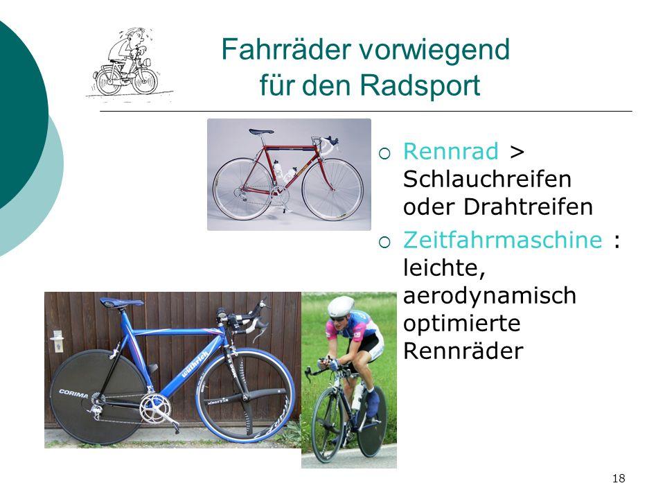 Fahrräder vorwiegend für den Radsport