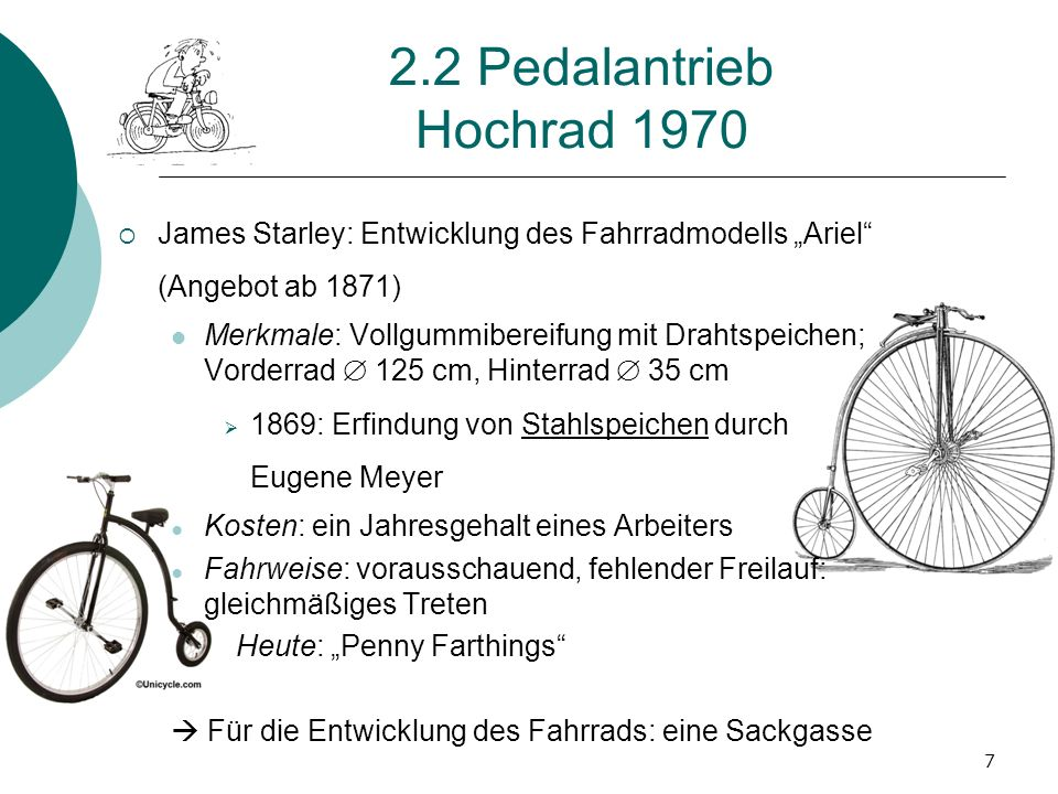 "2.2 Pedalantrieb Hochrad 1970 James Starley: Entwicklung des Fahrradmodells ""Ariel (Angebot ab 1871)"
