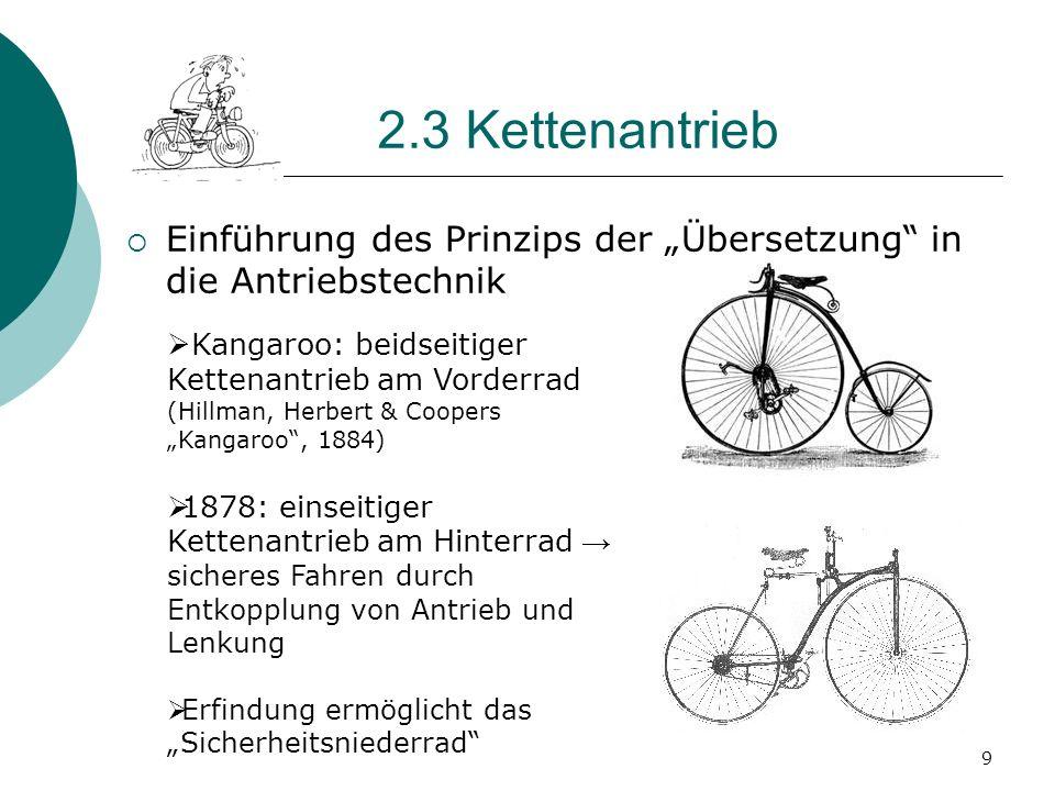 """2.3 Kettenantrieb Einführung des Prinzips der """"Übersetzung in die Antriebstechnik. Kangaroo: beidseitiger Kettenantrieb am Vorderrad."""