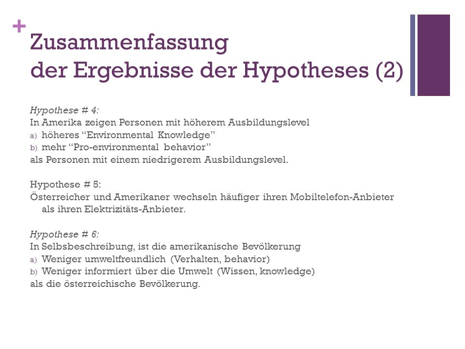Zusammenfassung der Ergebnisse der Hypotheses (2)