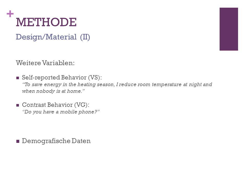 METHODE Design/Material (II) Weitere Variablen: Demografische Daten