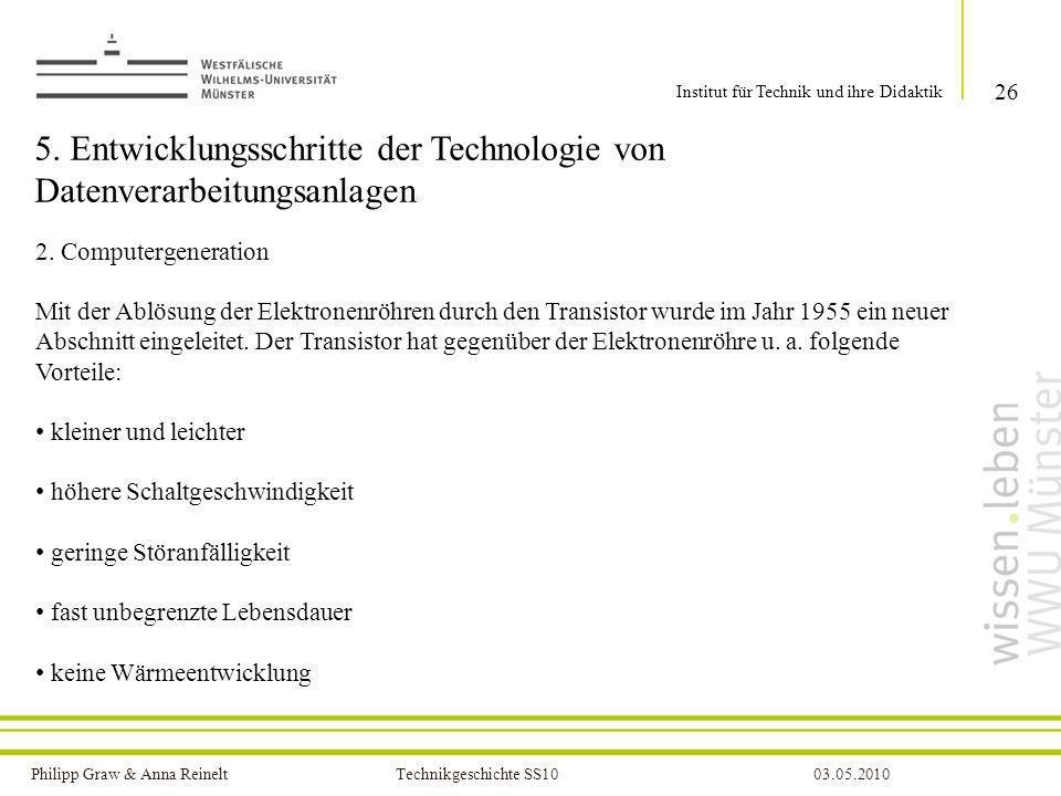 5. Entwicklungsschritte der Technologie von Datenverarbeitungsanlagen