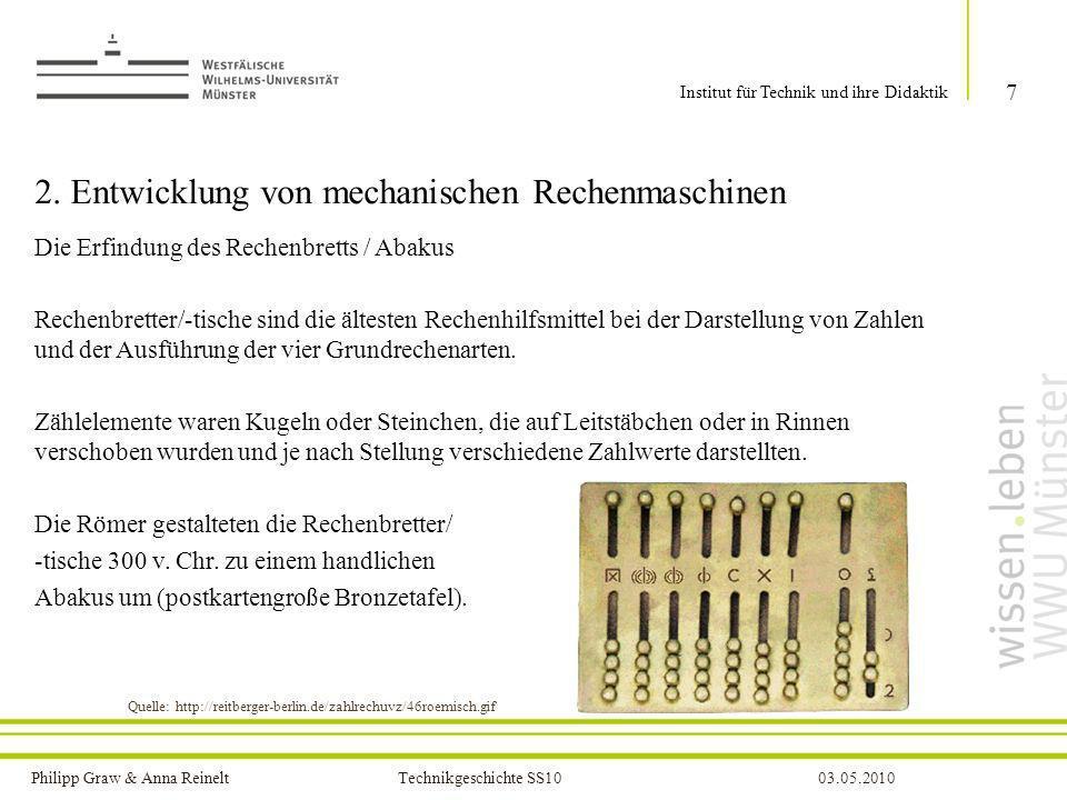 2. Entwicklung von mechanischen Rechenmaschinen